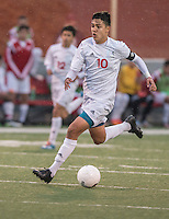 NWA Democrat-Gazette/ANTHONY REYES &bull; @NWATONYR<br /> Almicar Gonzalez, Springdale senior, sprints down the field against Fort Smith Northside Thursday, March 19, 2015 at Bulldog Stadium in Springdale. The Bulldogs won on penalty kicks after a 2-2 tie at the end of regulation.