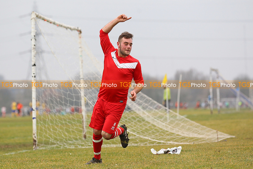 Shakespeare celebrate their first goal - Shakespeare (red) vs MDM United - Hackney & Leyton Sunday League Dickie Davies Football at South Marsh, Hackney Marshes- 15/02/15 - MANDATORY CREDIT: Gavin Ellis/TGSPHOTO - Self billing applies where appropriate - contact@tgsphoto.co.uk - NO UNPAID USE