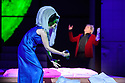 """EMBARGOED UNTIL 23:00 FRIDAY 18 OCTOBER 2019: London, UK. 16.10.2019.  English National Opera presents """"The Mask of Orpheus"""", by Sir Harrison Birthwhistle, libretto by Peter Zinovieff, at the London Coliseum, in its first London restaging in the 30 years since its premiere, coinciding with the celebration of Sir Harrison's 85th birthday. Directed by Daniel Kramer, with lighting design by Peter Mumford, set design by Lizzie Clachan and costume design by Daniel Lismore. Picture shows: Marta Fontanals-Simmons (Eurydice the Woman), Peter Hoare (Orpheus the Man). Photograph © Jane Hobson."""