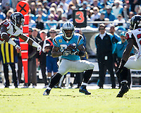 The Carolina Panthers defeated the Atlanta Falcons 34-10 in an inter-division rivalry played in Charlotte, NC at Bank of America Stadium.  Carolina Panthers wide receiver Steve Smith (89)