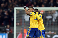 Juventus players celebrate the victory at the final whistle after Tottenham Hotspur vs Juventus, UEFA Champions League Football at Wembley Stadium on 7th March 2018