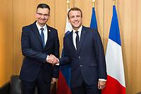 President Emmanuel Macron meets with Prime Minister of Slovenia Marjan Sarec at the EU Summit