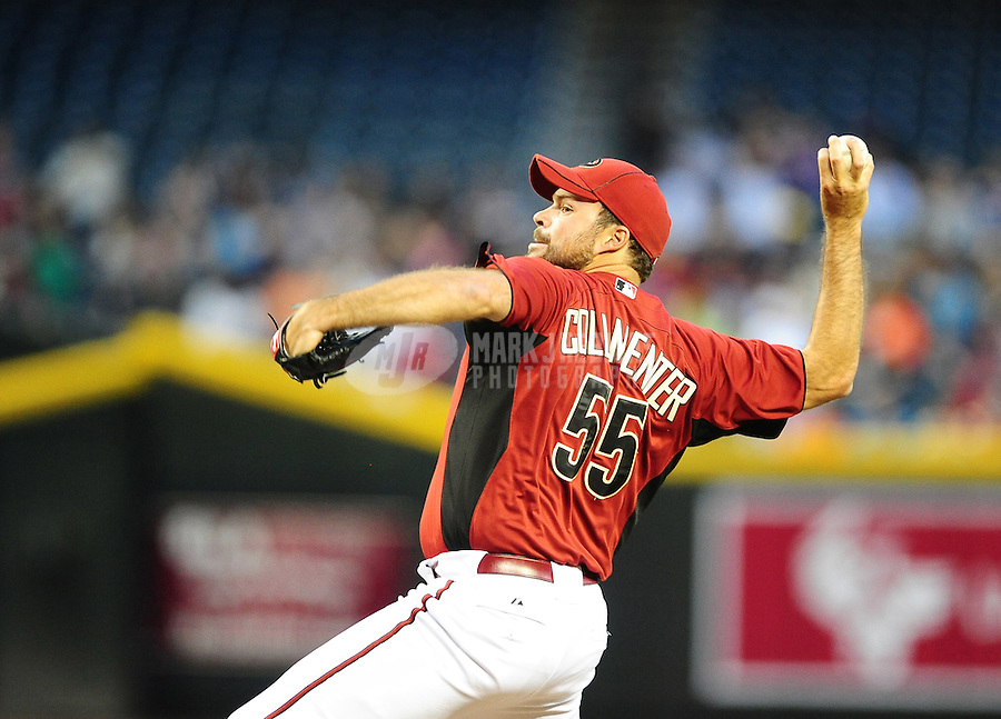 Apr. 3, 2012; Phoenix, AZ, USA; Arizona Diamondbacks pitcher Josh Collmenter throws in the first inning against the Milwaukee Brewers during a spring training game at Chase Field.  Mandatory Credit: Mark J. Rebilas-
