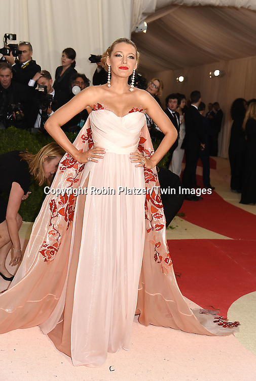 Blake Lively attends the Metropolitan Museum of Art Costume Institute Benefit Gala on May 2, 2016 in New York, New York, USA. The show is Manus x Machina: Fashion in an Age of Technology. <br /> <br /> photo by Robin Platzer/Twin Images<br />  <br /> phone number 212-935-0770