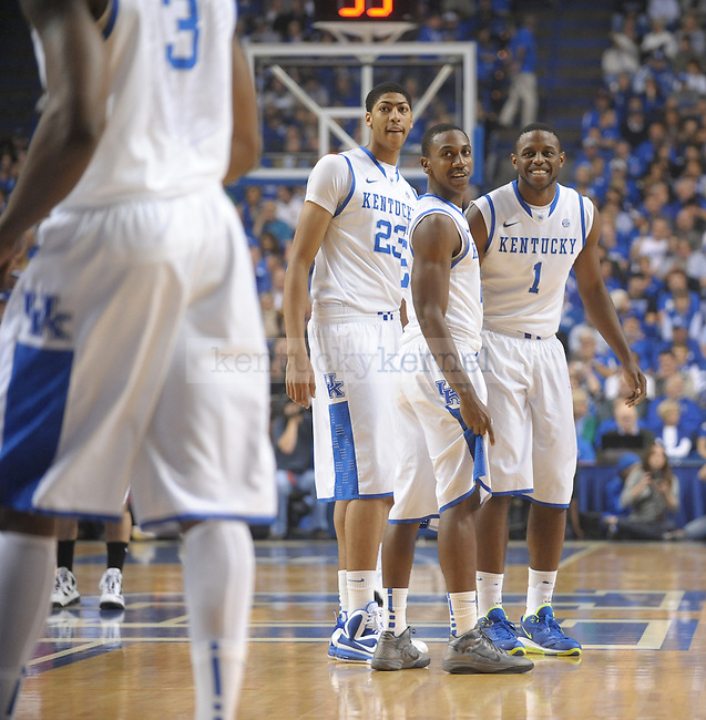 UK forward Darius Miller (right) jokes around with forward Terrence Jones (left) before the University of Kentucky Men's basketball game against Transylvania University at Rupp Arena in Lexington, Ky., on 11/2/11. Uk led the game 37-23 at half. Photo by Mike Weaver | Staff