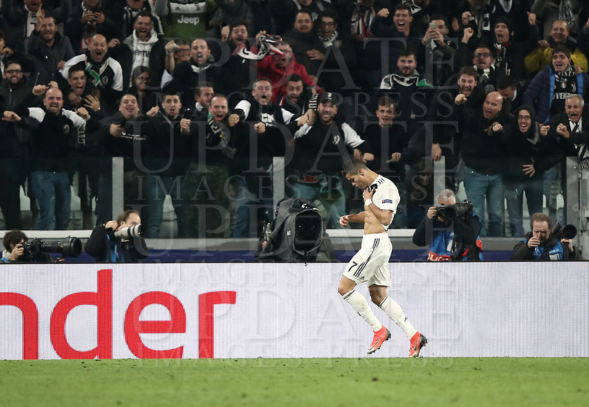 Football Soccer: UEFA Champions League -Group Stage-  Group H - Juventus vs Manchester United, Allianz Stadium. Turin, Italy, November 07, 2018.<br /> Juventus' Cristiano Ronaldo celebrates after scoring during the Uefa Champions League football soccer match between Juventus and Manchester United at Allianz Stadium in Turin, November 07, 2018.<br /> UPDATE IMAGES PRESS
