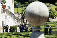 Ministers Paola Pisano, Giuseppe Provenzano, Federico d'Inca', Vincenzo Boccia and the Governor of the Bank of Italy Ignazio Visco talking in the gardens of Villa Pamphilj, where the Italian Premier convened the States General of Economy. The summit was strictly behind closed doors and the press was kept outside. Rome (Italy), June 13th 2020<br /> Samantha Zucchi Insidefoto