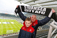 Swansea supporters  during the Premier League match between Newcastle United and Swansea City at St James' Park, Newcastle, England, UK. Saturday 13 January 2018