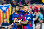 Ousmane Dembele (L) and Jose Paulo Bezerra Maciel Junior, Paulinho, (R) of FC Barcelona celebrate after winning the La Liga match between FC Barcelona vs RCD Espanyol at the Camp Nou on 09 September 2017 in Barcelona, Spain. Photo by Vicens Gimenez / Power Sport Images