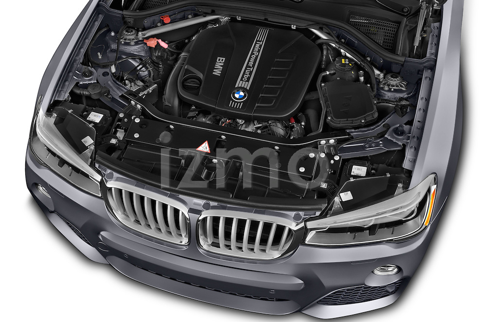 Car Stock 2016 BMW X3 xDrive28d 5 Door SUV Engine  high angle detail view