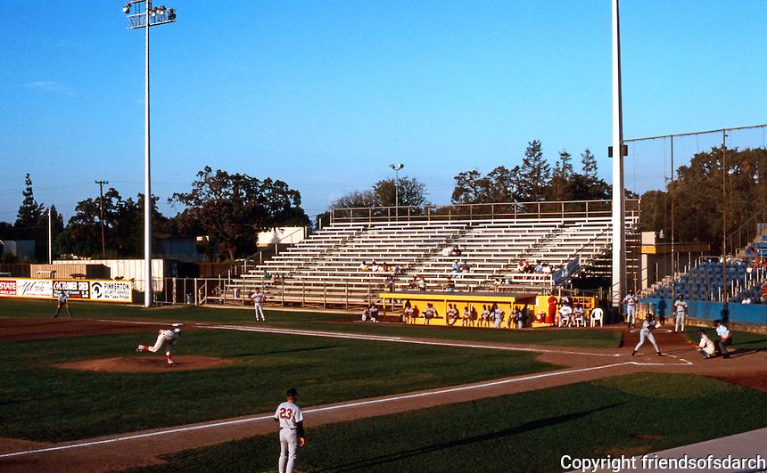 Ballparks: Stockton, CA. Billy Hebert Field, August 1992. Light crowd!