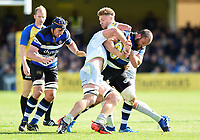 Tom Dunn of Bath Rugby takes on the Saracens defence. Aviva Premiership match, between Bath Rugby and Saracens on September 9, 2017 at the Recreation Ground in Bath, England. Photo by: Patrick Khachfe / Onside Images