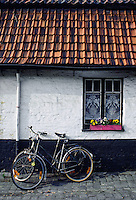RED BRICK ROOF & BICYCLE - BRUGGE, BELGIUM
