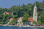 Cavtat harbour famous for its gorgeous bay. Saint Nicholas church. Croatia