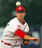 4 June 2007: Brian Steinocher of the Greenville Drive, Class A South Atlantic League affiliate of the Boston Red Sox, in a game against the Kannapolis Intimidators at West End Field in Greenville, S.C. Photo by:  Tom Priddy/Four Seam Images