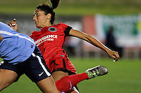 Piscataway, NJ - Sunday Sept. 25, 2016: Nadia Nadim during a regular season National Women's Soccer League (NWSL) match between Sky Blue FC and the Portland Thorns FC at Yurcak Field.