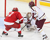 Emily Fulton (Cornell - 17), Corinne Boyles (BC - 29), Dru Burns (BC - 7) - The Boston College Eagles defeated the visiting Cornell University Big Red 4-3 (OT) on Sunday, January 11, 2012, at Kelley Rink in Conte Forum in Chestnut Hill, Massachusetts.