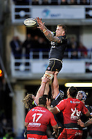 Dominic Day of Bath Rugby wins the ball at a lineout. European Rugby Champions Cup match, between Bath Rugby and RC Toulon on January 23, 2016 at the Recreation Ground in Bath, England. Photo by: Patrick Khachfe / Onside Images