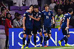 Haraguchi Genki of Japan (L) celebrating his score with Minamino Takumi of Japan (C) during the AFC Asian Cup UAE 2019 Semi Finals match between I.R. Iran (IRN) and Japan (JPN) at Hazza Bin Zayed Stadium  on 28 January 2019 in Al Alin, United Arab Emirates. Photo by Marcio Rodrigo Machado / Power Sport Images