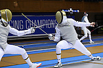 DURHAM, NC - FEBRUARY 26: Notre Dame's Hazem Khazbak (EGY) (right) and Axel Kiefer (left) compete in a Men's Foil semifinal bout. The Atlantic Coast Conference Fencing Championships were held on February, 26, 2017, at Cameron Indoor Stadium in Durham, NC.
