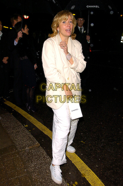 EMMA THOMPSON.Attends the Chanel pre Autumn / Winter Collection Show at Phillips de Pury & Co, Victoria, London, England,.December 6th, 2007..full length white cream jacket coat trousers trainers funny.CAP/CAN.©Can Nguyen/Capital Pictures