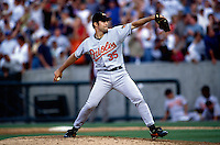 Mike Mussina of the Baltimore Orioles plays in a baseball game at Edison International Field during the 1998 season in Anaheim, California. (Larry Goren/Four Seam Images)