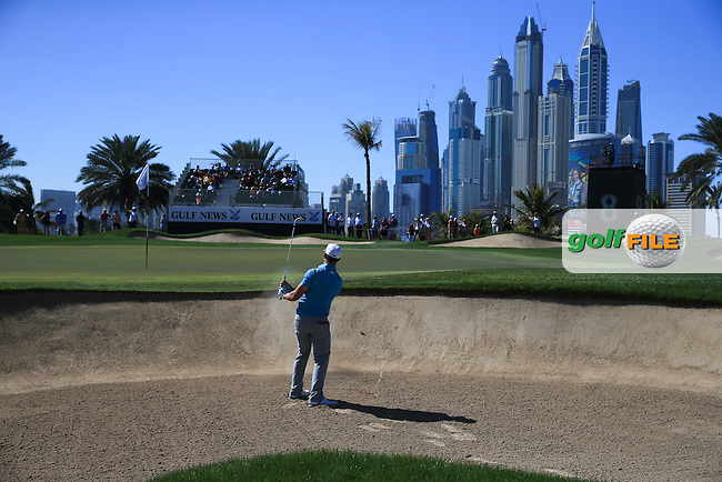 Haydn Porteous (RSA) almost holes out from the bunker on the 8th during Round Three of the 2016 Omega Dubai Desert Classic, played on the Emirates Golf Club, Dubai, United Arab Emirates.  06/02/2016. Picture: Golffile | David Lloyd<br /> <br /> All photos usage must carry mandatory copyright credit (&copy; Golffile | David Lloyd)