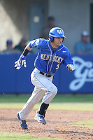 Riley Mahan (3) of the Kentucky Wildcats runs to first base during a game against the UC Santa Barbara Gauchos at Caesar Uyesaka Stadium on March 20, 2015 in Santa Barbara, California. UC Santa Barbara defeated Kentucky, 10-3. (Larry Goren/Four Seam Images)