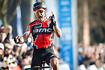 Greg Van Avermaet (BEL) BMC Racing Team wins the 60th edition of the Record Bank E3 Harelbeke 2017, Flanders, Belgium. 24th March 2017.<br /> Picture: Jim Fryer/BrakeThrough Media | Cyclefile<br /> <br /> <br /> All photos usage must carry mandatory copyright credit (&copy; Cyclefile | Yuzuru Sunada)