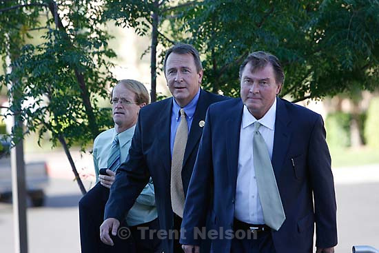 The Warren Jeffs' trial in St. George, Utah. Jeffs, head of the Fundamentalist Church of Jesus Christ of Latter Day Saints, is charged with two counts of rape as an accomplice for allegedly coercing the marriage and rape of a 14-year-old follower to her 19-year-old cousin in 2001.. prosecuting attorney Ryan Shaum. Utah Assistant Attorney General Craig Barlow