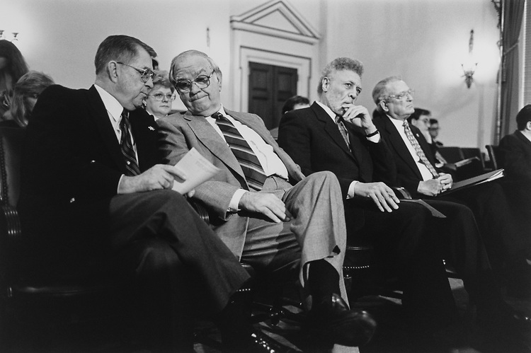 Rep. Gerald B. H. Solomon, R-N.Y., Rep. Joe Moakley, D-Mass., Rep. Ron Dellums, D-Calif., and Rep. Floyd Spence, R-S.C., wait to testify before the House Oversight Committee on March 2, 1995. (Photo by Laura Patterson/CQ Roll Call)