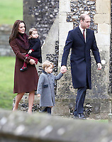 25 December 2016 - Princess Kate Duchess of Cambridge, Prince William Duke of Cambridge, Prince George and Princess Charlotte with Michael Middleton and James Middleton attend a morning Christmas Day service at St Mark's Church in Englefield, Berkshire. Photo Credit: Alpha Press/AdMedia