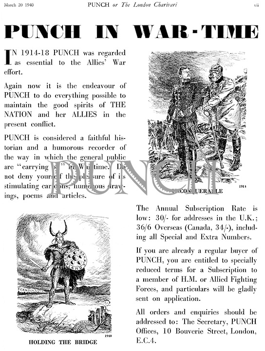 Punch in War-Time (advertisement 20 March 1940..)..