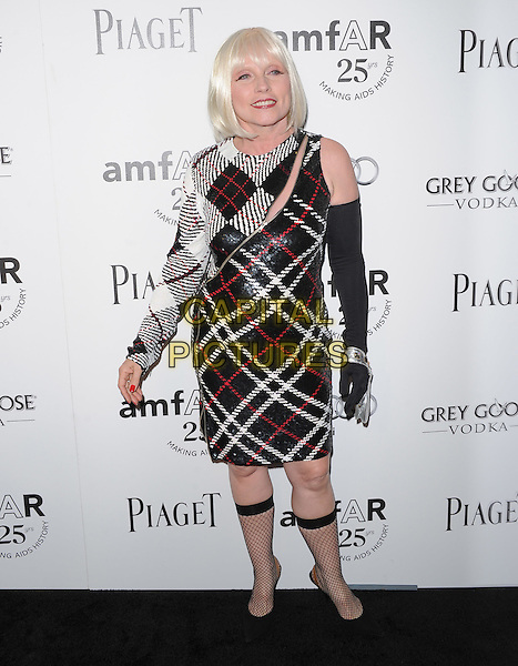 Deborah Harry.The amfAR's Inspiration L.A. Gala held at The Chateau Marmont in Hollywood, California, USA..October 27th, 2011.full length dress one sleeve glove socks fishnet black debbie black white red tartan plaid check zip zipper .CAP/RKE/DVS.©DVS/RockinExposures/Capital Pictures.