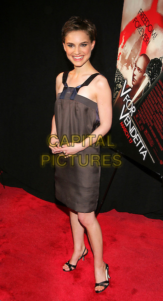 "NATALIE PORTMAN.At NY Premiere of ""V for Vendetta"" at the Rose Theatre, New York, NY, USA.  .March 13th, 2006.Photo: Jackson Lee/Admedia/Capital Pictures.Ref: JL/ADM.full length black dress blue straps.www.capitalpictures.com.sales@capitalpictures.com.© Capital Pictures."
