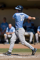 Kyle Seager (10) of the North Carolina Tar Heels follows through on his swing versus the St. John's Red Storm at the 2008 Coca-Cola Classic at the Winthrop Ballpark in Rock Hill, SC, Sunday, March 2, 2008.