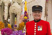 Sunday, 19 May 2013, London, UK. RHS Chelsea Flower Show, a female Chelsea Pensioner is having a quick preview of the works in the Grand Pavilion.