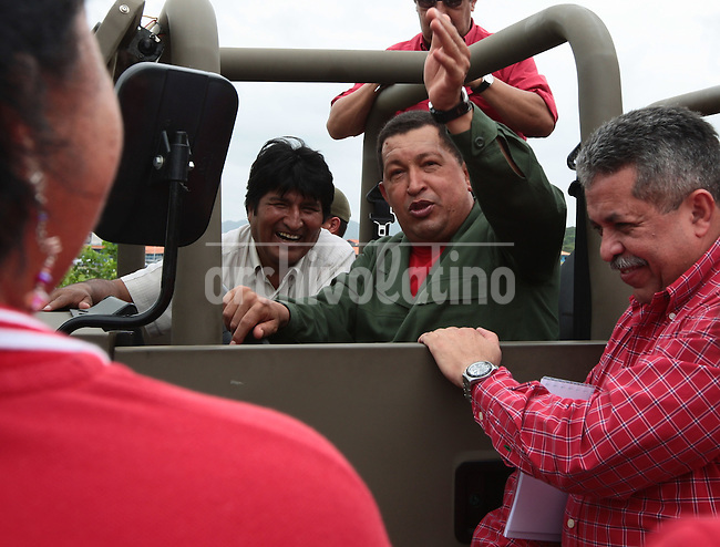 Presidents of Venezuela Hugo chavez and Bolivia Evo Morales visiting Chave'z home town of Sabaneta, in southern Venezuela Barinas state.