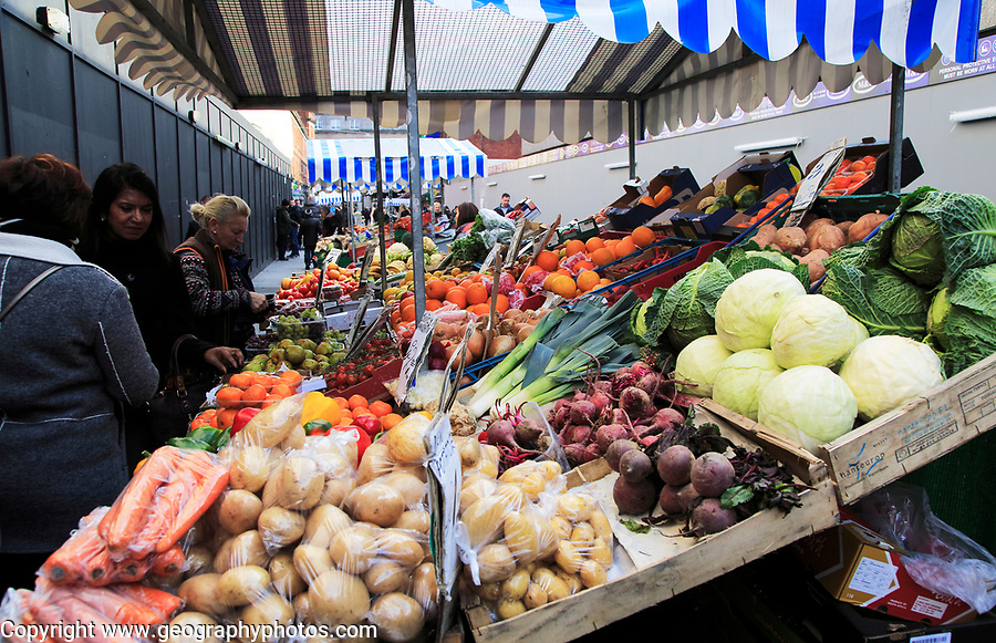 Fresh fruit and vegetable market stall, Moore Street, Dublin city centre, Ireland, Republic of Ireland
