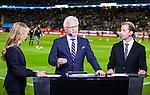Solna 2015-09-08 Fotboll EM-kval , Sverige - &Ouml;sterrike :  <br /> Kanal 5 expert Hans Hasse Backe och Sportbladets Simon Bank i TV-studion inf&ouml;r matchen mellan Sverige och &Ouml;sterrike <br /> (Photo: Kenta J&ouml;nsson) Keywords:  Sweden Sverige Solna Stockholm Friends Arena EM Kval EM-kval UEFA Euro European 2016 Qualifying Group Grupp G &Ouml;sterrike Austria portr&auml;tt portrait TV Tv-k&auml;ndis k&auml;ndis
