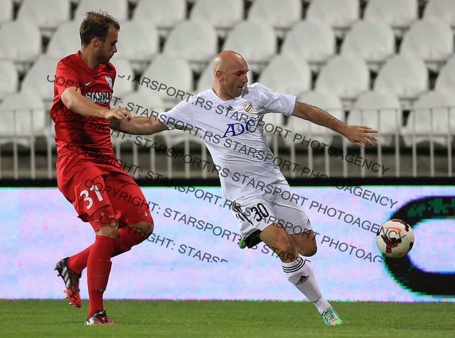 Fudbal Football Soccer<br /> UEFA Europa league-Second qualifying round, First leg<br /> Cukaricki v Grodig Austria<br /> Nenad Mirosavljevic (R) and  Matthias Maak<br /> Beograd, 07.17.2014.<br /> foto: Srdjan Stevanovic/Starsportphoto &copy;