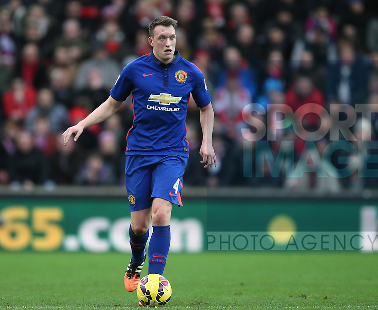 Phil Jones of Manchester United- Barclays Premier League - Stoke City vs Manchester Utd - Stoke - England - 1st January 2015 - Picture Simon Bellis/Sportimage
