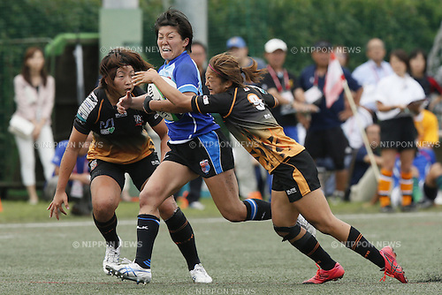 (L-R)<br /> Akari Fujisaki (Rugirl-7),<br /> Aya Takeuchi (ARUKAS),<br /> Marie Yamaguchi (Rugirl-7),<br /> JULY 20, 2014 - Rugby : <br /> Women's Sevens Series 2014 Yokohama <br /> CUP Final ARUKAS QUEEN KUMAGAYA 465 Rugirl-7<br /> at YCAC ground in Kanagawa, Japan. <br /> (Photo by Shingo Ito/AFLO SPORT) [1195]