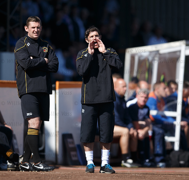 Berwick manager Ian Little shouts instructions