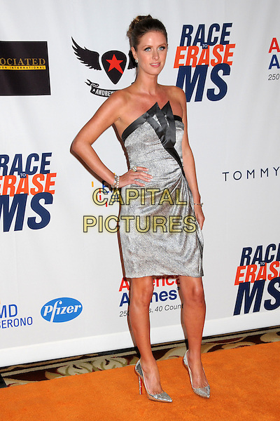 NICKY HILTON.18th Annual Race To Erase MS held at the Hyatt Regency Century Plaza Hotel, Century City, California, USA..April 29th, 2011.full length dress grey gray silver black trim hand on hip strapless pointy shoes hair up.CAP/ADM/BP.©Byron Purvis/AdMedia/Capital Pictures.