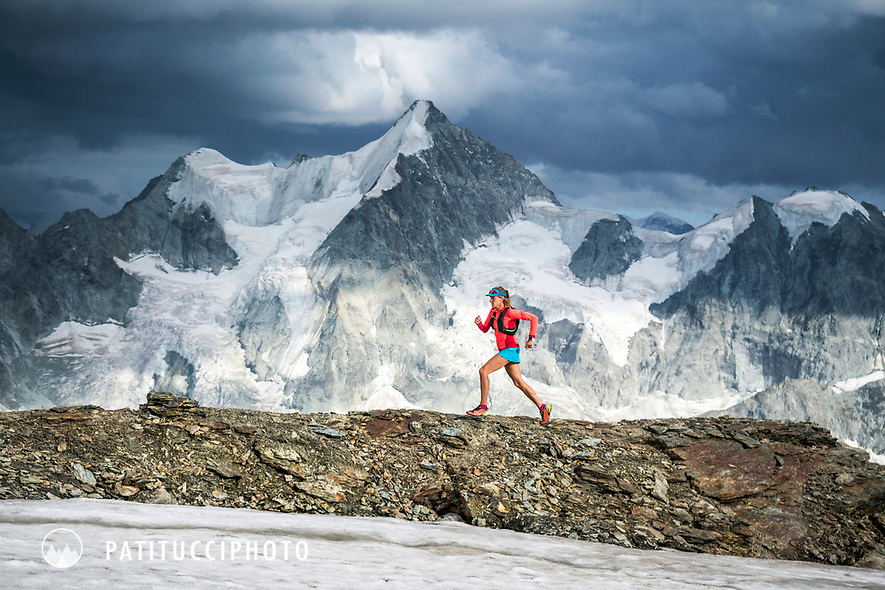 Trail running near Lac de Moiry, Switzerland with a view of the Obergabelhorn.