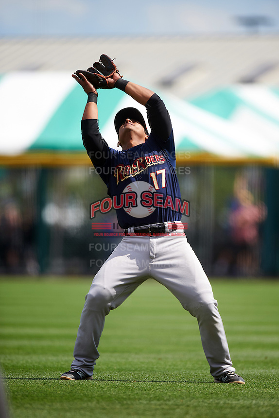 Scranton/Wilkes-Barre RailRiders second baseman Donovan Solano (17) catches a popup during a game against the Buffalo Bisons on July 2, 2016 at Coca-Cola Field in Buffalo, New York.  Scranton defeated Buffalo 5-1.  (Mike Janes/Four Seam Images)