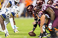 Landover, MD - SEPT 3, 2017: A shot of the West Virginia Mountaineers and Virginia Tech Hokies line of scrimage during game between West Virginia and Virginia Tech at FedEx Field in Landover, MD. (Photo by Phil Peters/Media Images International)
