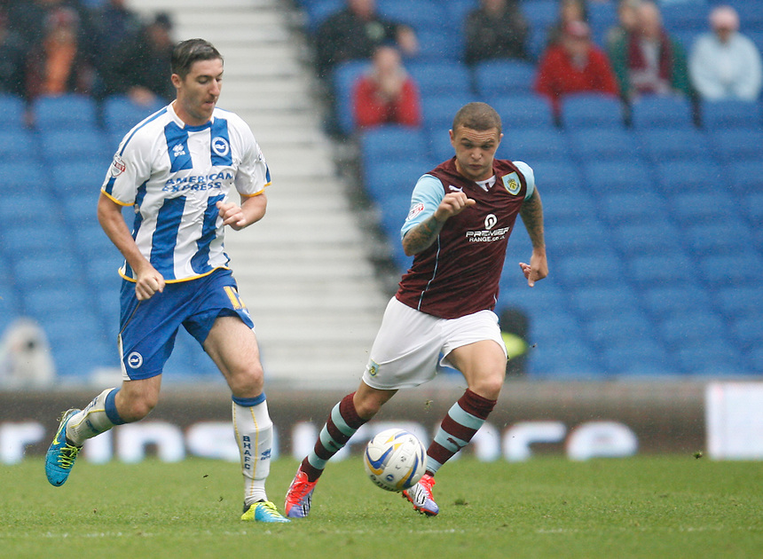 Brighton &amp; Hove Albion's Stephen Ward (L) and Burnley's Kieran Trippier in action during todays match  <br /> <br /> (Photo by Jack Phillips/CameraSport)<br /> <br /> Football - The Football League Sky Bet Championship - Brighton and Hove Albion v Burnley - Saturday 24th August 2013 - American Express Community Stadium - Brighton<br /> <br /> &copy; CameraSport - 43 Linden Ave. Countesthorpe. Leicester. England. LE8 5PG - Tel: +44 (0) 116 277 4147 - admin@camerasport.com - www.camerasport.com