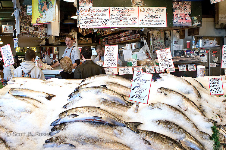 Fresh Fish at Pikes Place Fish Market, Seattle, Washington